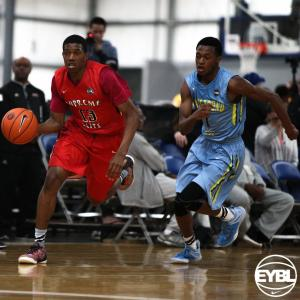 "California Supreme 2016 6' 4"" SG De'Anthony Melton dribbles the ball into the frontcourt. -Jon Lopez, Nike"