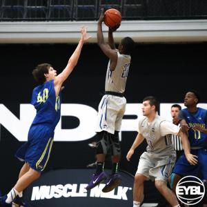 "Chicago Meanstreets 2016 6' 3"" SG James Jones goes up for the fadeaway jumper. -Jon Lopez, Nike"