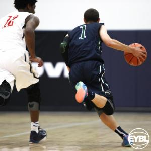"Oakland Soldiers 2016 6' 1"" PG Jordan Ford drives to the basket in the open court. -Jon Lopez, Nike"