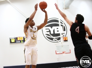 "Elite 6' 7"" SF Miles Bridges of The Family (MI) taking the shot. -Jon Myers Nike EYBL"