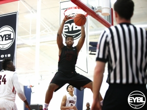 "2016 6' 8"" Villanova commit Omari Spellman throws down the dunk in the lane. -Jon Lopez, Nike"