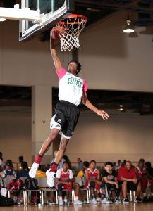 Kobi Jordan-Simmons goes up for the dunk on the break. (Photo by Kelly Kline/adidas)
