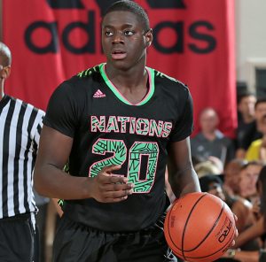 Rawle Alkins dribbling up the court at Adidas Nations.