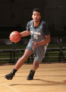 Braxton Blackwell dribbling the ball during workouts at Adidas Nations. (Photo by Kelly Kline/adidas)