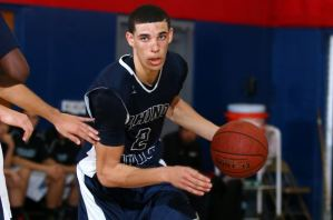 2016 UCLA commit Lonzo Ball drives to the basket for his high school Chino Hills (CA).