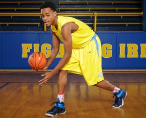 Huntington Prep (WV) PG posing for a picture at his high school in West Virginia.