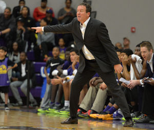 High School legend Kevin Boyle directs his Montverde Academy (FL) team from the sidelines.