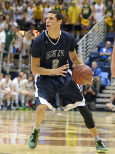 Lonzo Ball looking to score for his high school team Chino Hills.