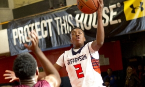 Shamorie Ponds going up for the left handed layup for Jefferson (NY).