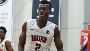 2017 PF Jarred Vanderbilt playing for Houston Hoops (TX) in the Nike EYBL circuit. -Jeff Drummond Scout