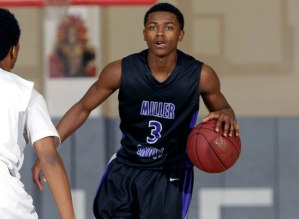 2016 PG Alterique Gilbert prepares to take on his defender for Miller Grove (GA).