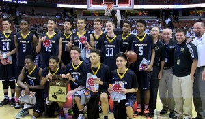 Bishop Montgomery celebrates its California open division title.