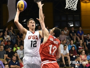 2016 Gonzaga-commit Zach Collins goes up for the hook shot over the outstretched arms of his defender. (Photo: USAbasketball)